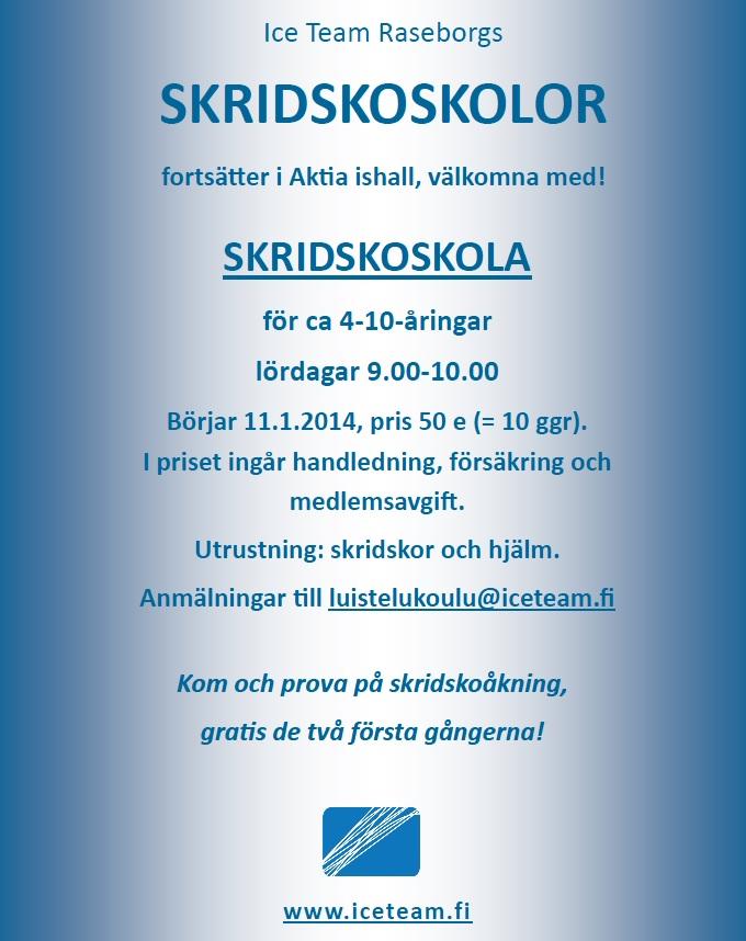 Skridskoskolan flyer ICE TEAM ruotsi_kevät 2014